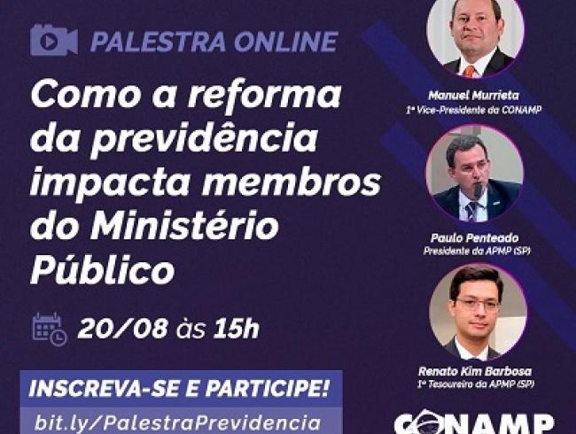 Palestra online: Como a reforma da Previdência impacta membros do Ministério Público