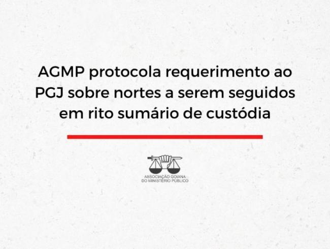 AGMP protocola requerimento ao PGJ sobre nortes a serem seguidos em rito sumário de custódia