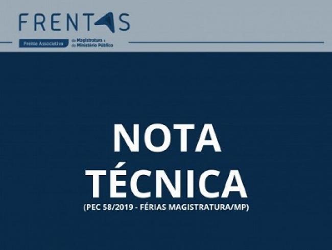 FRENTAS emite nota técnica sobre a PEC 58/2019